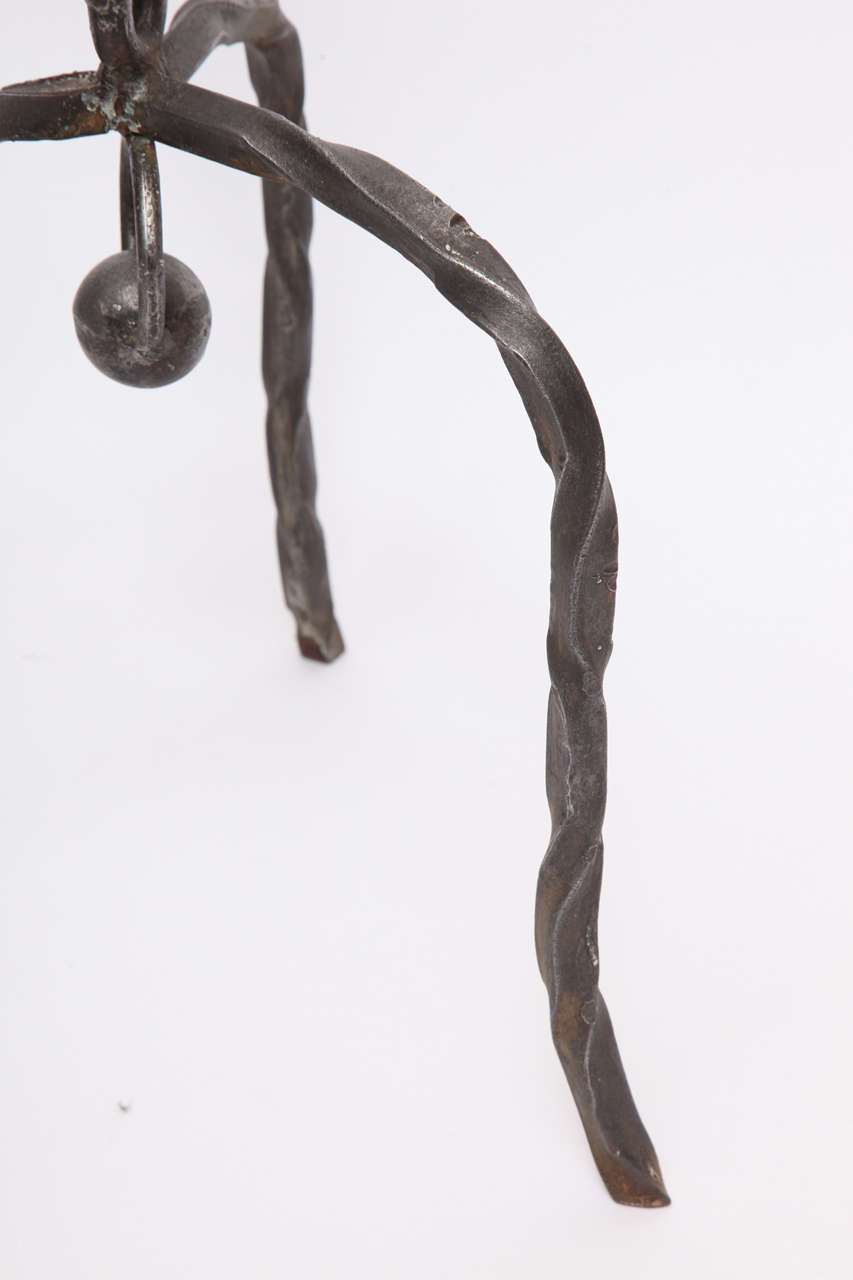 1940s Art Moderne, Hand-Wrought Iron Floor Lamp In Excellent Condition For Sale In New York, NY