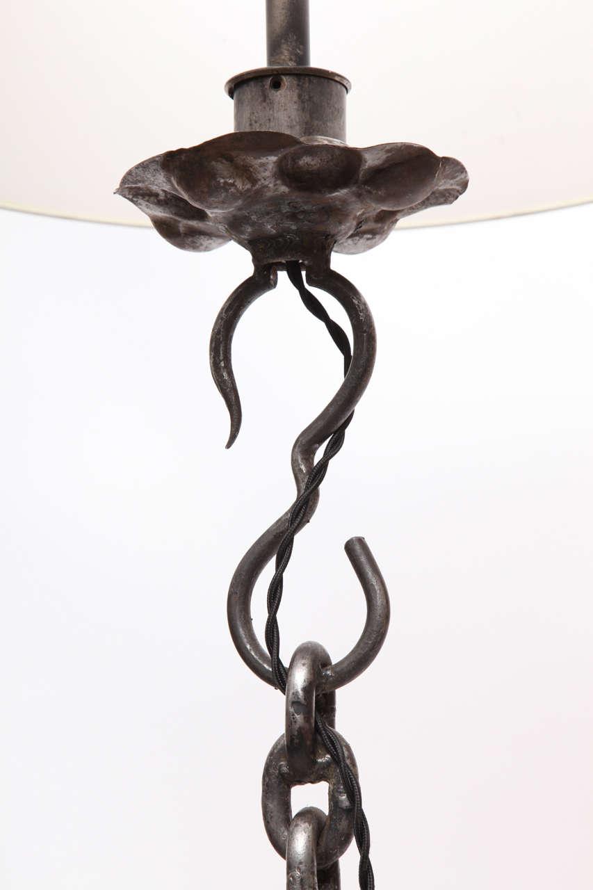 1940s Art Moderne, Hand-Wrought Iron Floor Lamp For Sale 1
