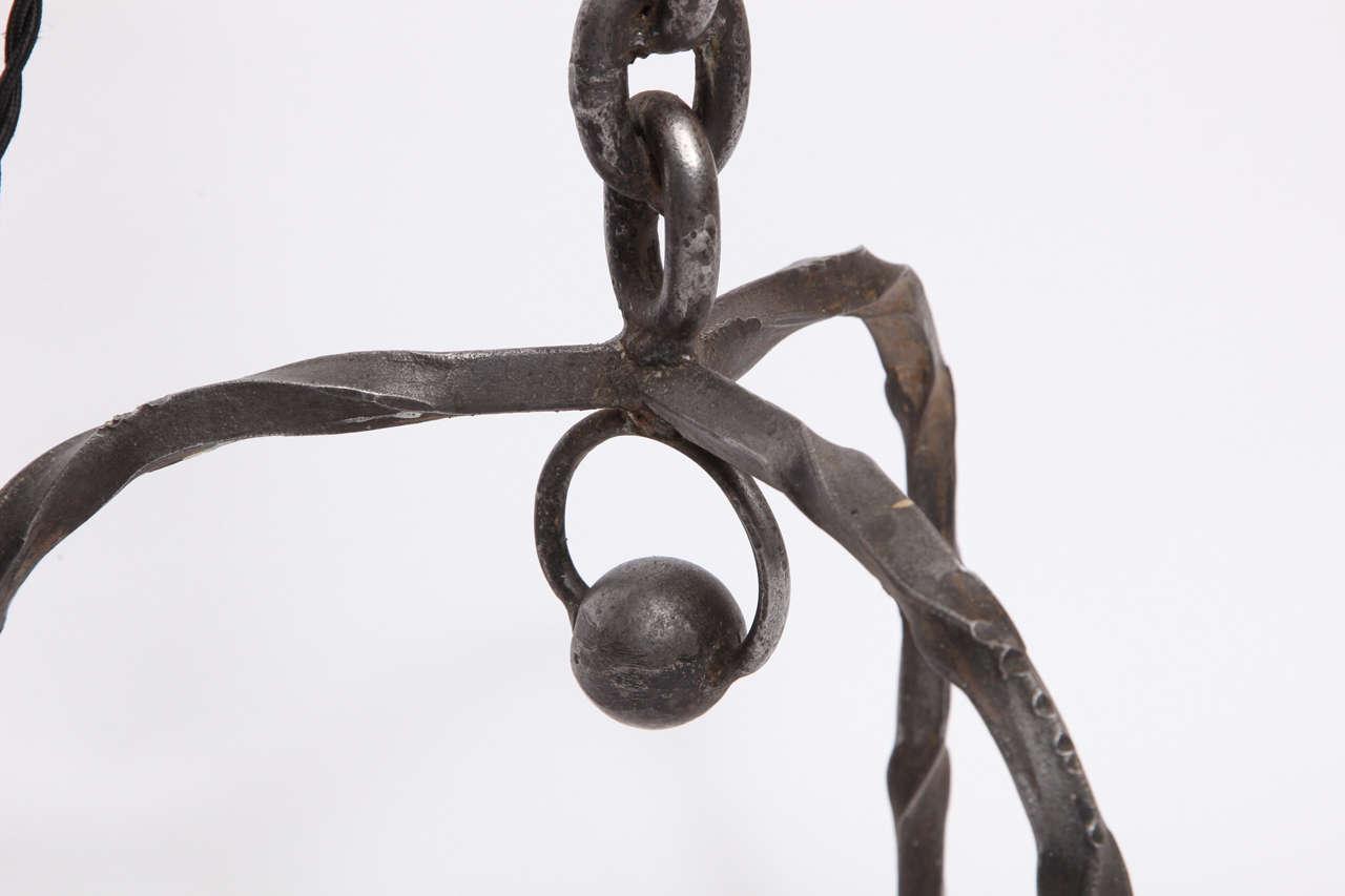 1940s Art Moderne, Hand-Wrought Iron Floor Lamp For Sale 2