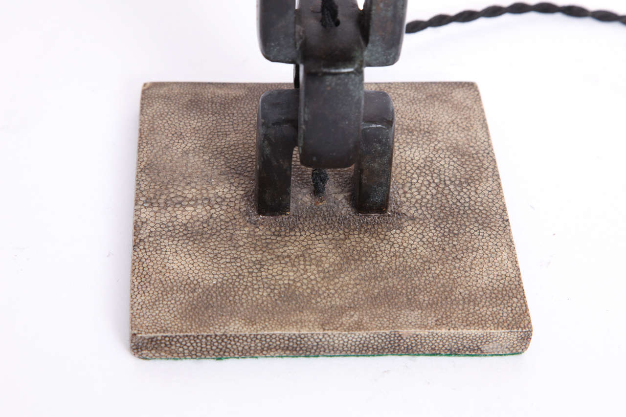 1980s French Modernist, Patinated Iron and Shagreen Table Lamp In Excellent Condition For Sale In New York, NY