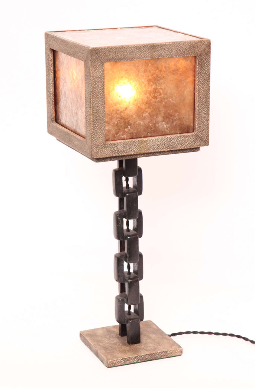 20th Century 1980s French Modernist, Patinated Iron and Shagreen Table Lamp For Sale