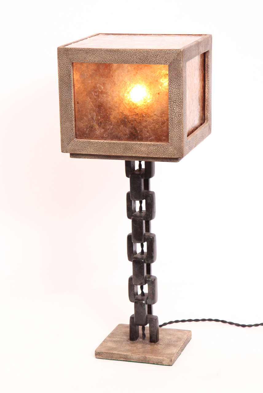 1980s French Modernist, Patinated Iron and Shagreen Table Lamp For Sale 1