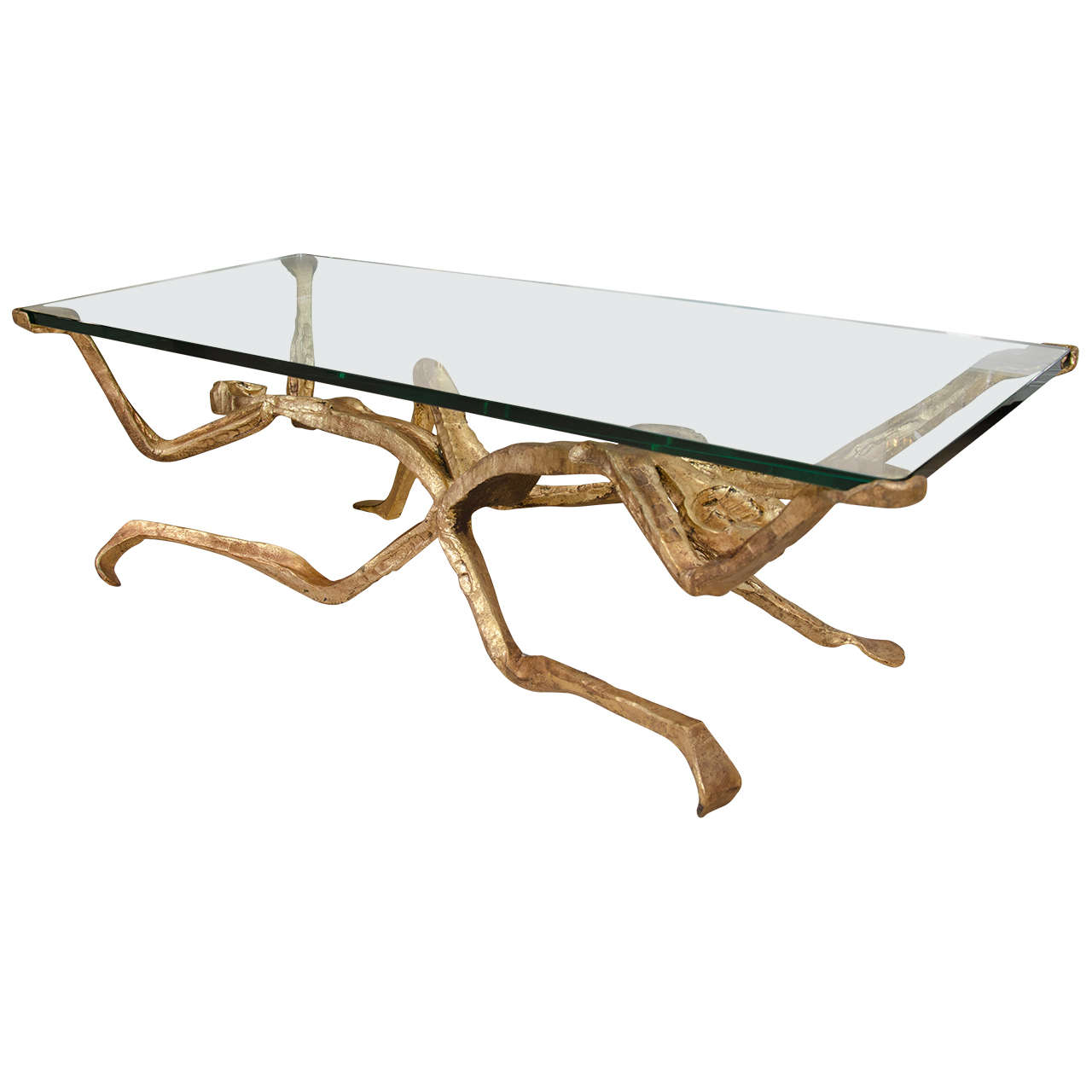 Gilt bronze figural coffee table at 1stdibs Bronze coffee tables