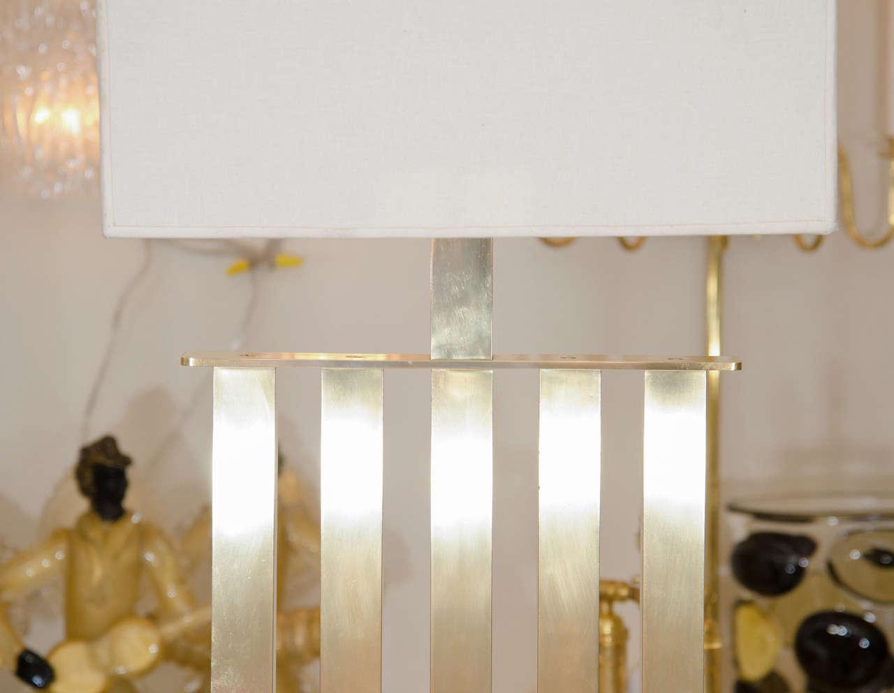 Italian Rectilinear Standing Brass Floor Lamp For Sale