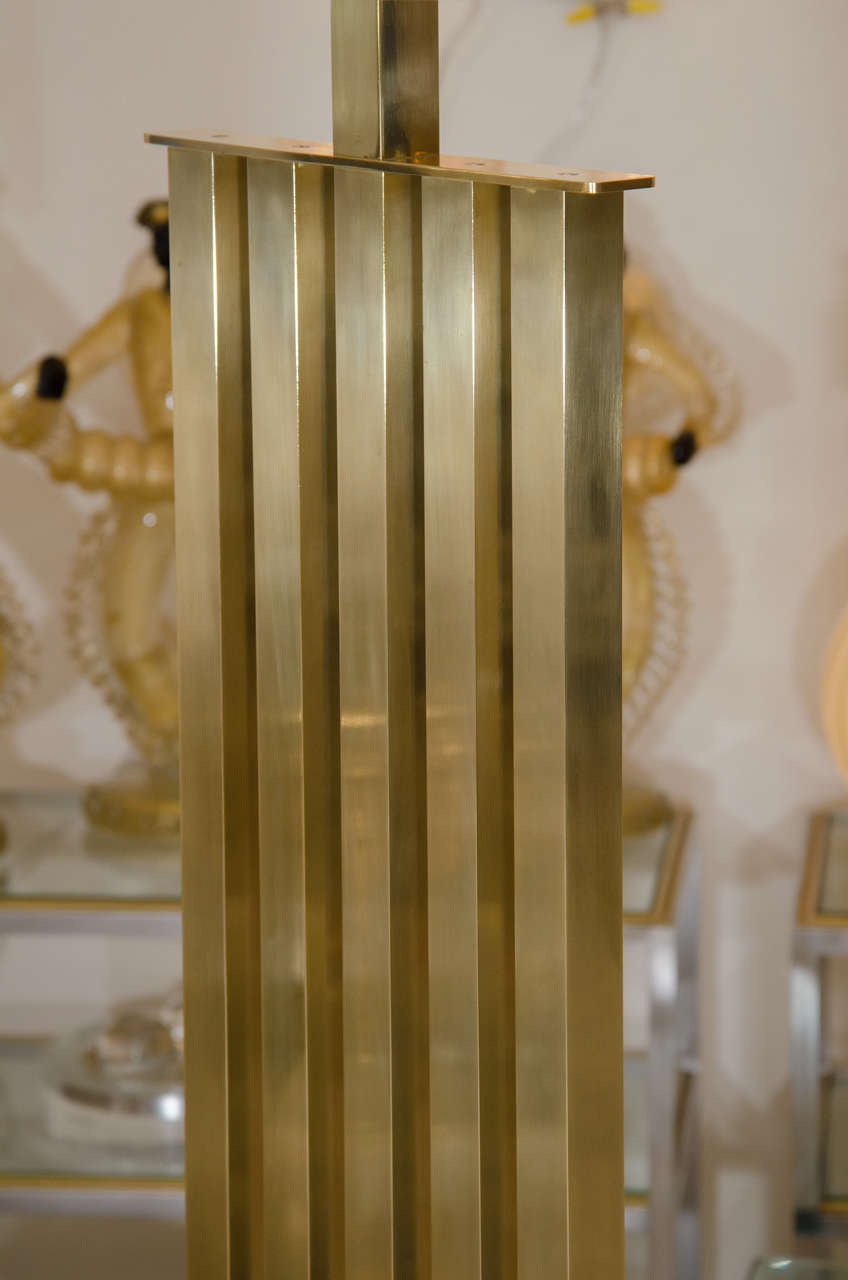 Rectilinear Standing Brass Floor Lamp For Sale 1