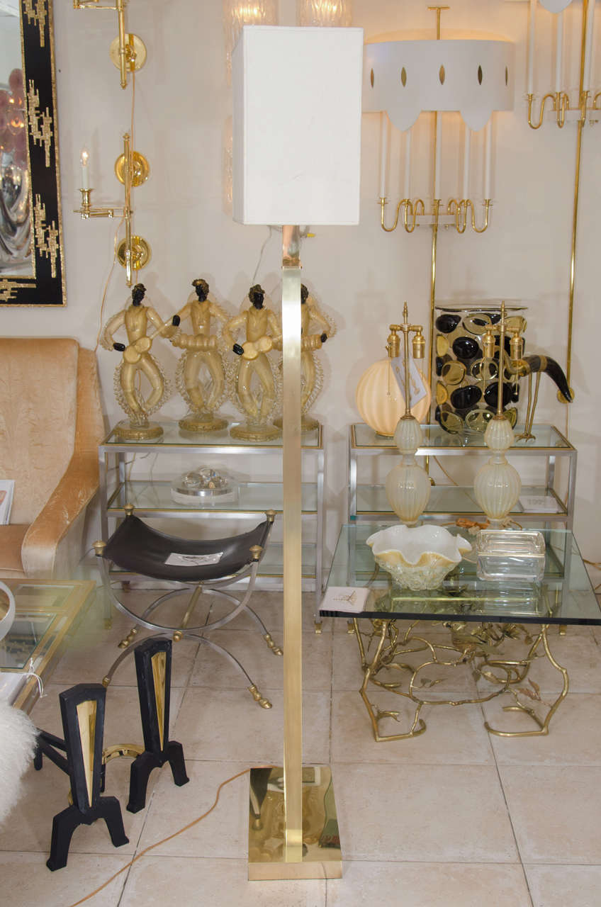 Rectilinear Standing Brass Floor Lamp For Sale 2