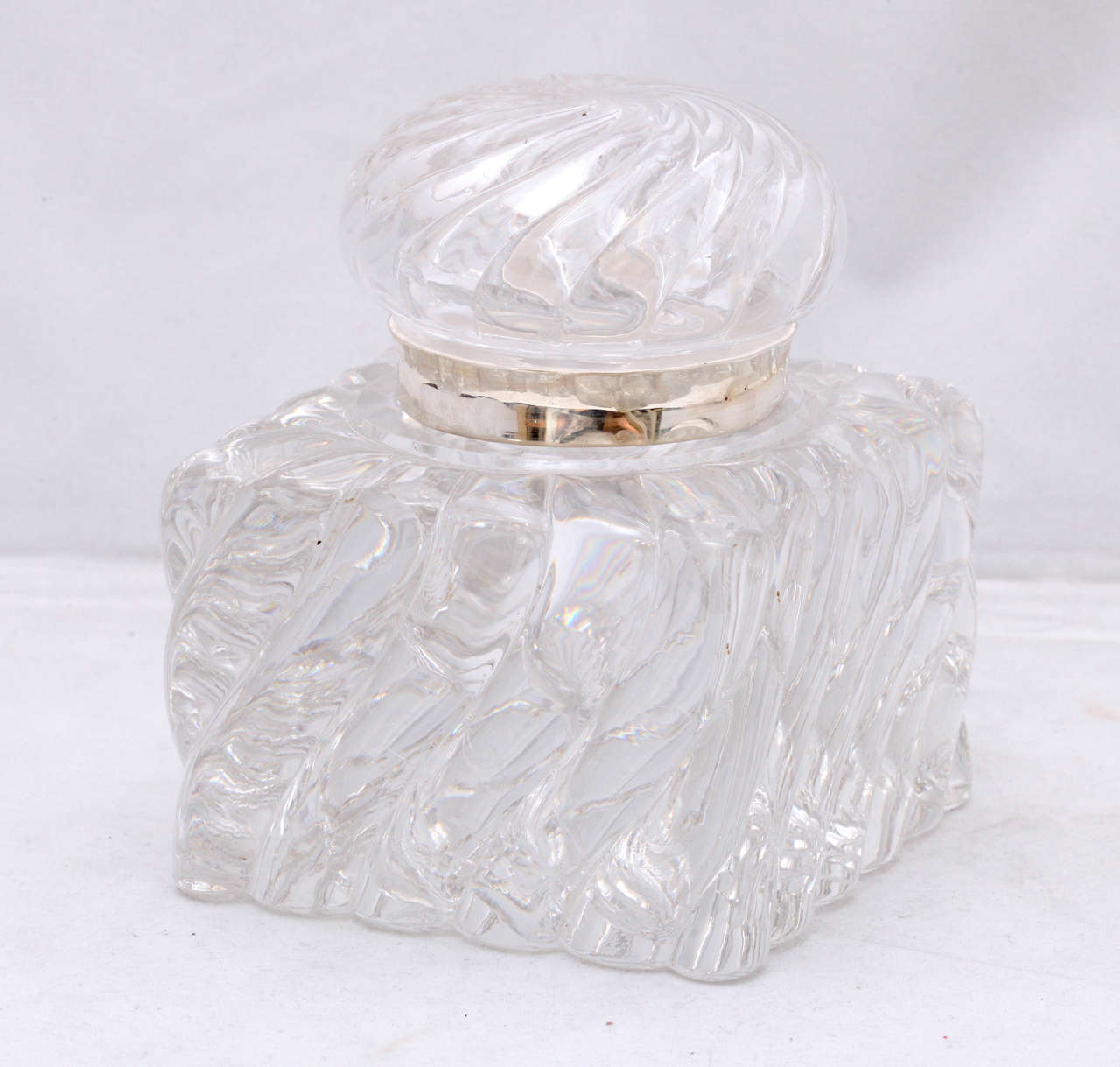 Very large, Victorian, sterling silver-mounted, swirled crystal inkwell, American, circa 1880s. Measures: 5 /4