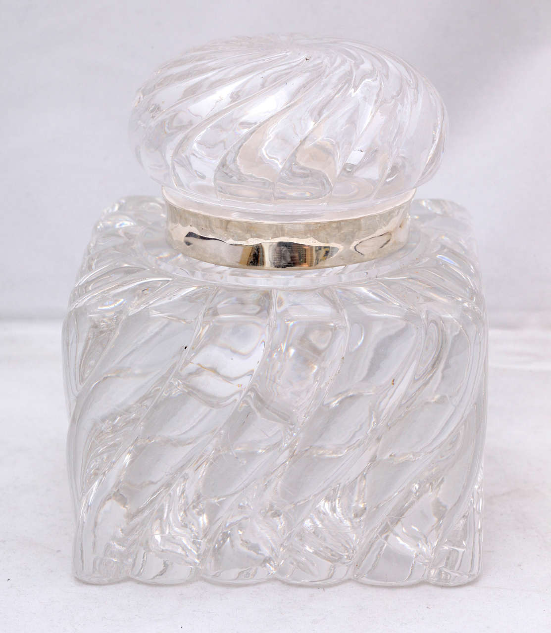 American Very Large Victorian Sterling Silver-Mounted Swirled Crystal Inkwell For Sale