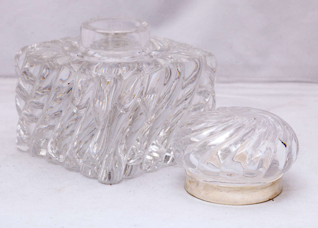 19th Century Very Large Victorian Sterling Silver-Mounted Swirled Crystal Inkwell For Sale