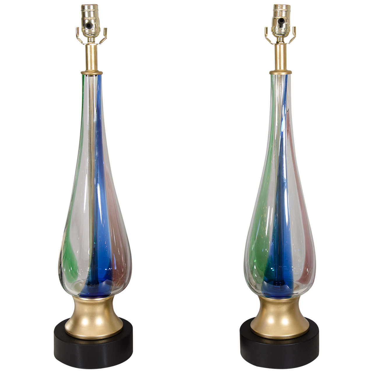 pair of 1970s murano glass lamps for sale at 1stdibs. Black Bedroom Furniture Sets. Home Design Ideas