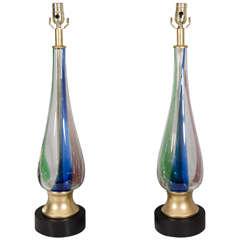 Pair of 1970s Murano Glass Lamps