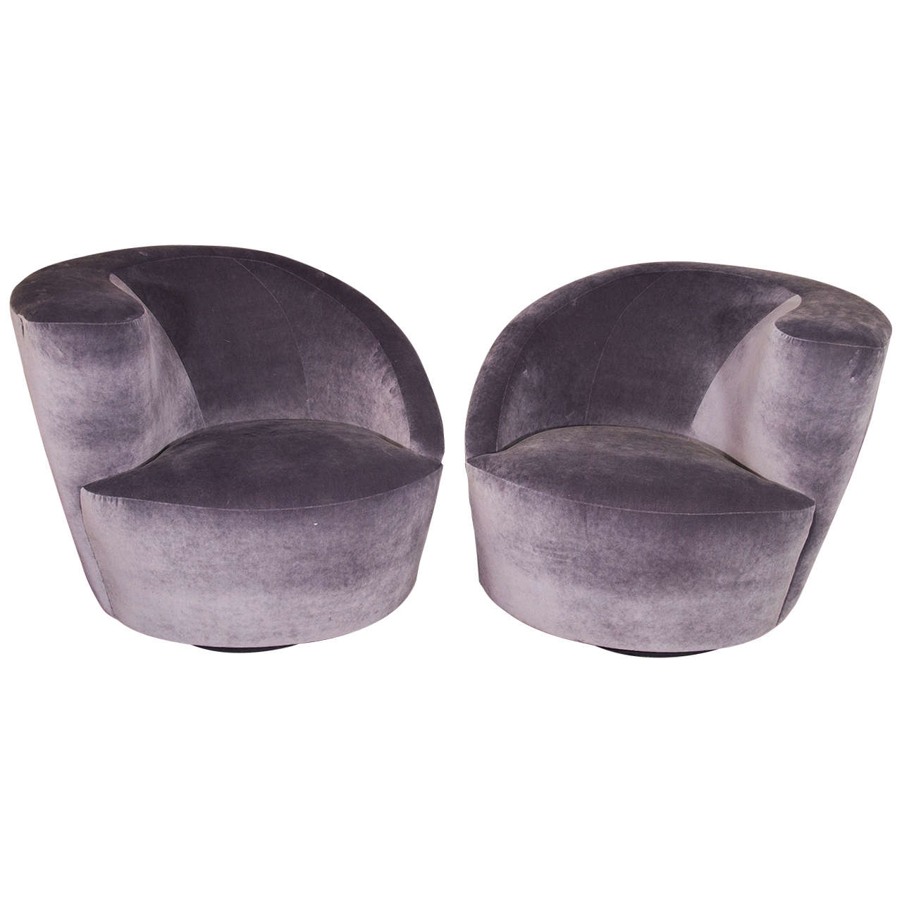 Pair Of 1970s Kagan Asymmetrical Swivel Chairs Upholstered In Charcoal  Velvet For Sale
