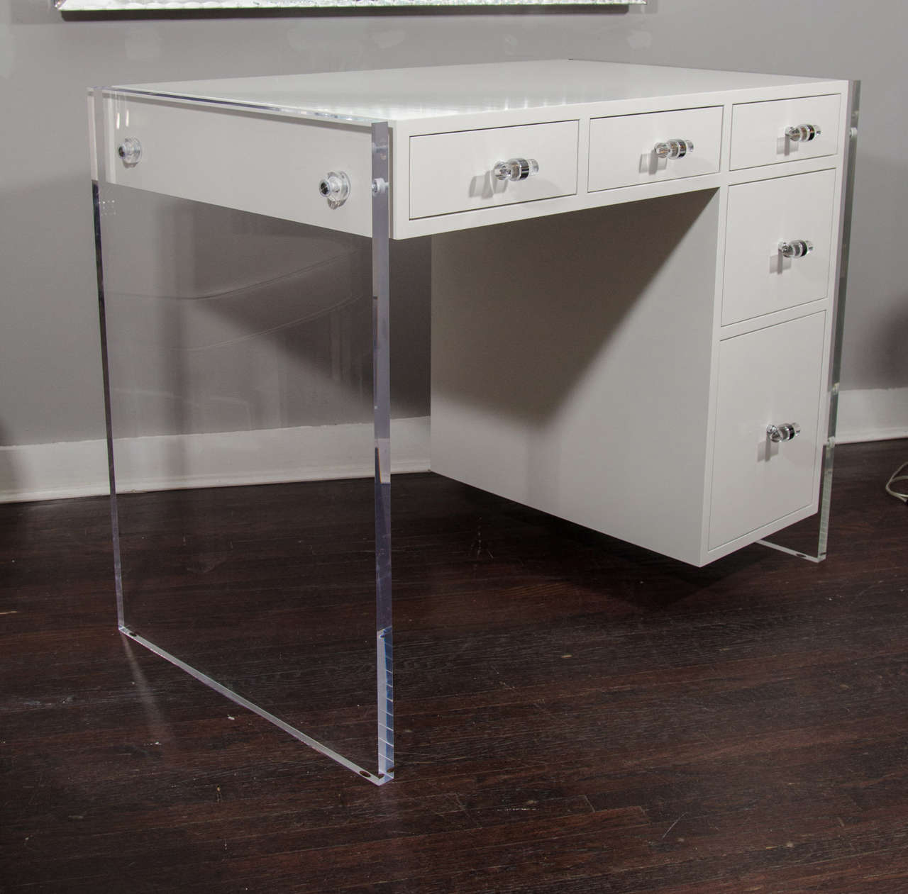 White lucite desk the lucite desk 2 drawer vanity clear for Perspex desk