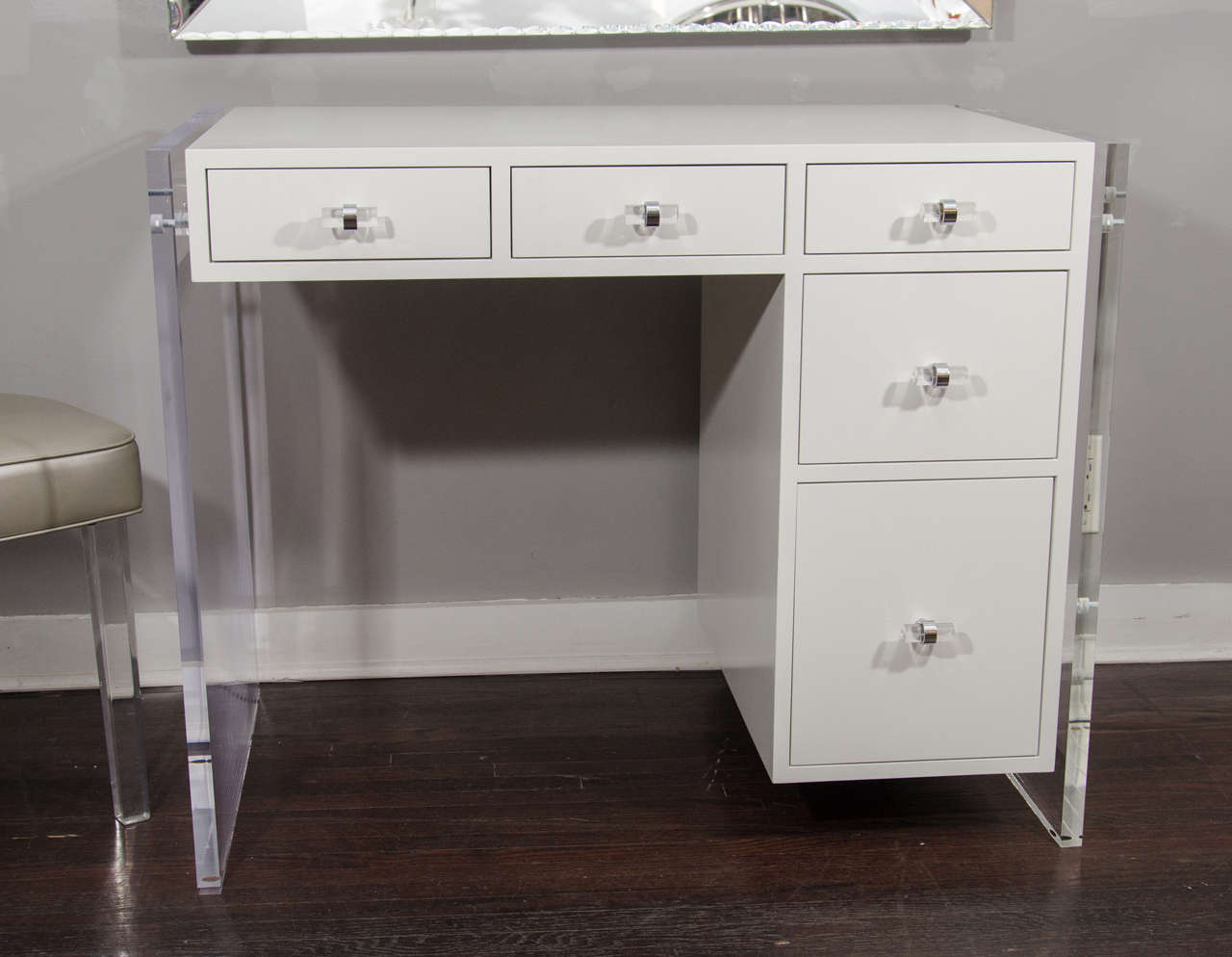 American Custom White Lacquer Desk With Lucite Side Panels For