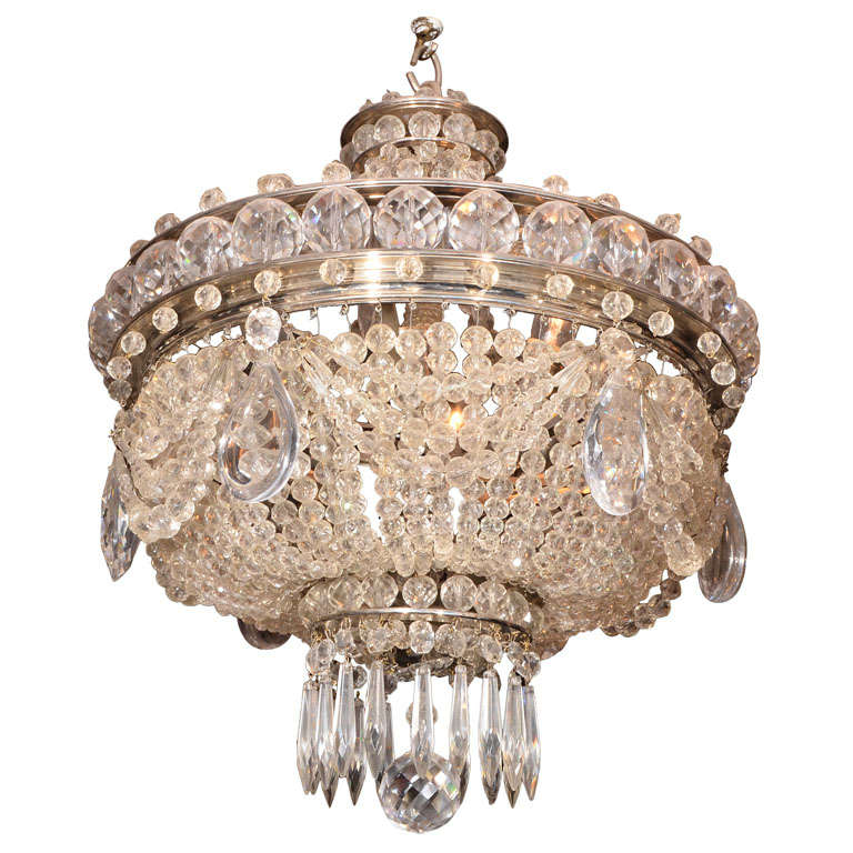 French Crystal Basket Chandelier At 1stdibs