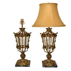 Pair Regency Style, cast bronze, marble & glass Table lamps