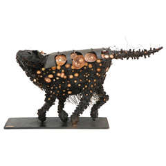Italian Bronze and Enameled Cat by Giani