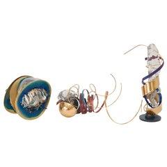 Three Metal & Glass Sculptures