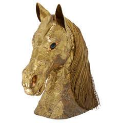 Pierced Brass Horse Head Sculpture