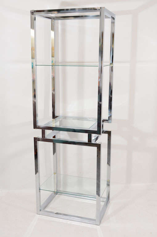 Chrome And Glass Tower Etagere At 1stdibs