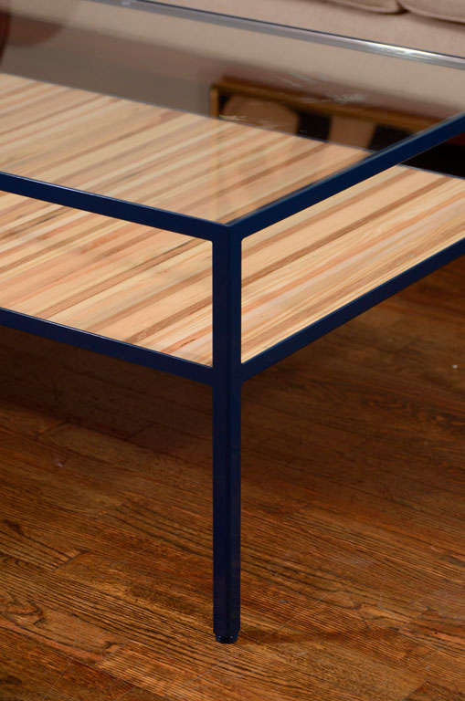 Angle Steel Coffee Table With Glass Top And Street Wood