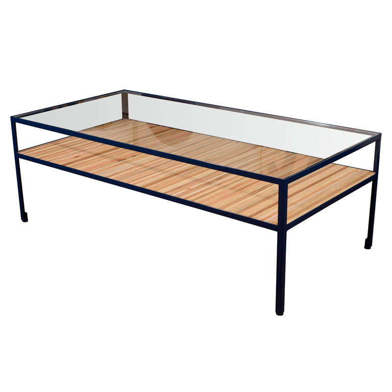 Angle Steel Coffee Table With Glass Top And Street Wood Shelf For Sale At 1stdibs
