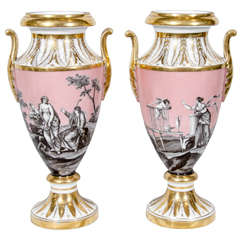 Pair Antique French Vases with Romantic Neoclassical Scenes