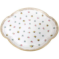 Antique Porcelain Serving Tray Decorated with Pink Roses and Pansies