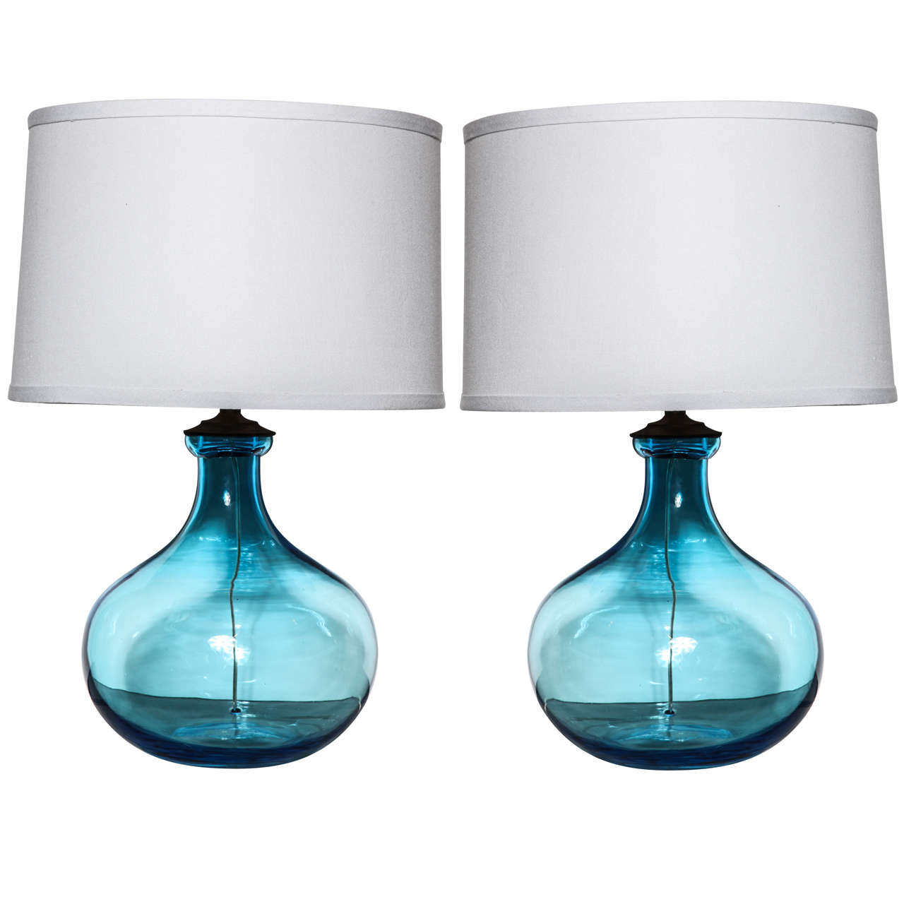 Pair Of Iris Blue Table Lamps At 1stdibs