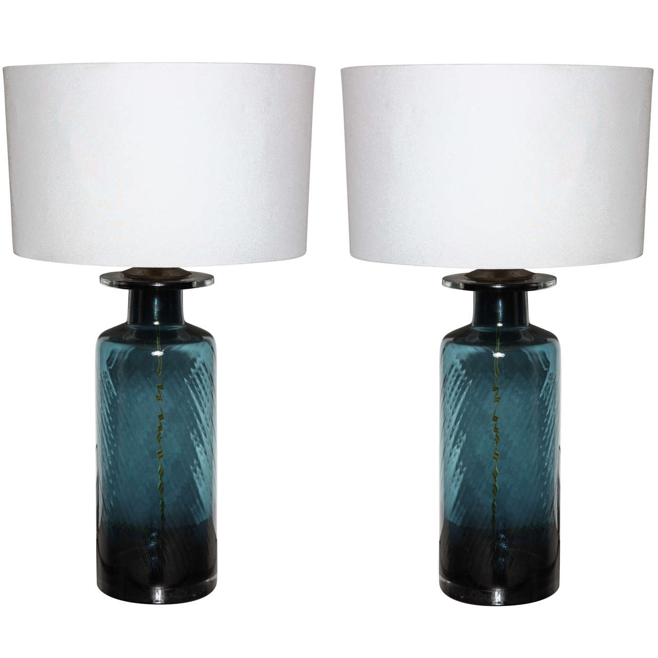Teal Table Lamps: Pair of Teal Blue Murano Glass Table Lamps 1,Lighting
