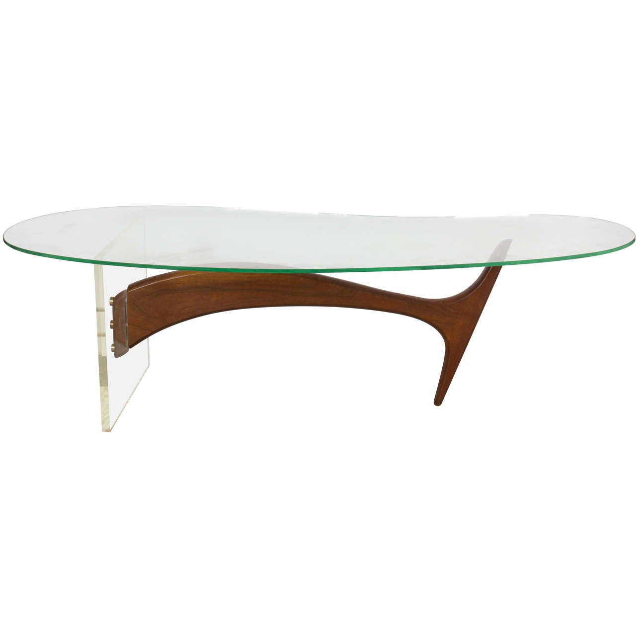 lucite and walnut cocktail table at 1stdibs