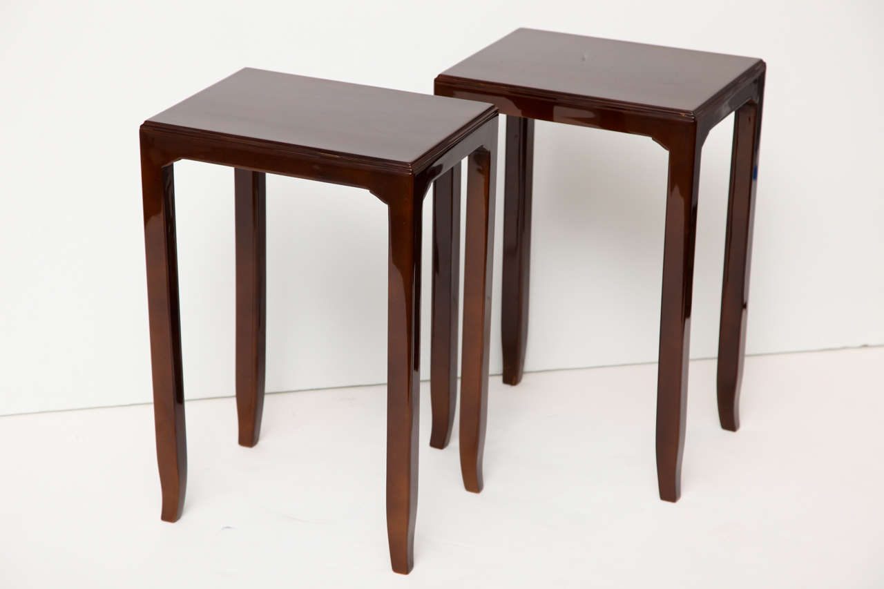 A pair of side tables with original Beka lacquer by Saïn et Tambuté   This model was displayed in the 1958 exhibition, Japanese Art in the Leleu showroom in Paris.  For an illustration of this model, see Siriex, Françoise. The House of Leleu.