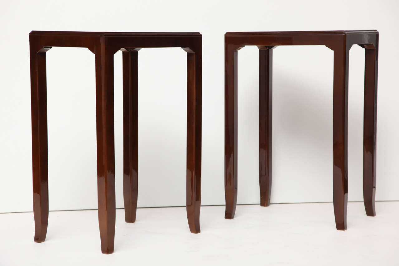 French Maison Leleu, Pair of Lacquered Side Tables, France, C. 1958 For Sale