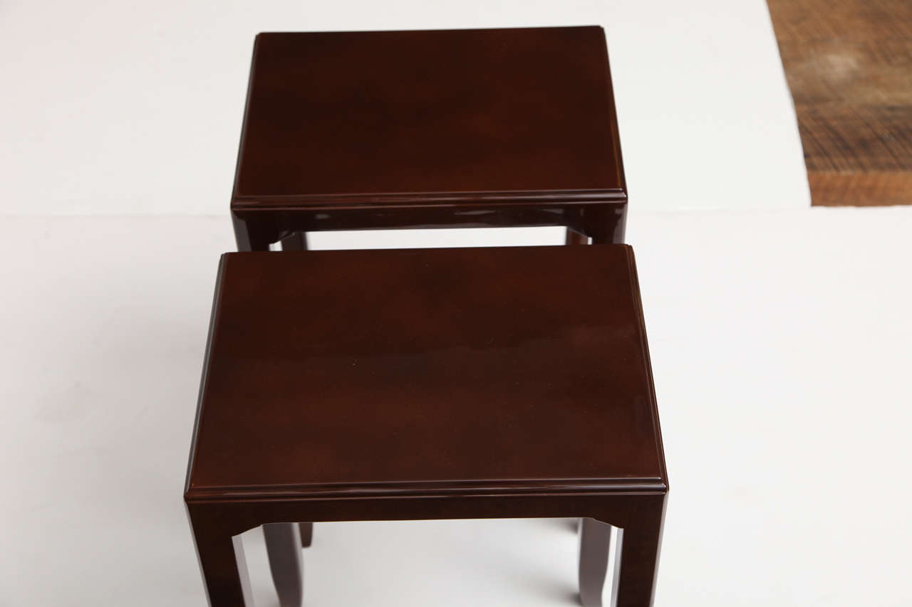 Maison Leleu, Pair of Lacquered Side Tables, France, C. 1958 In Good Condition For Sale In New York, NY