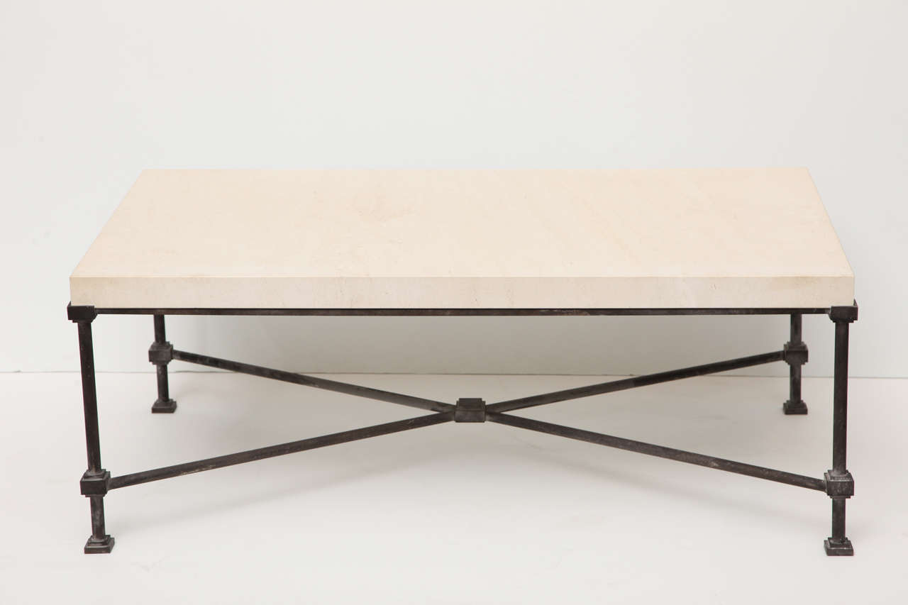 Limestone top coffee table with metal base at 1stdibs for Metal coffee table base