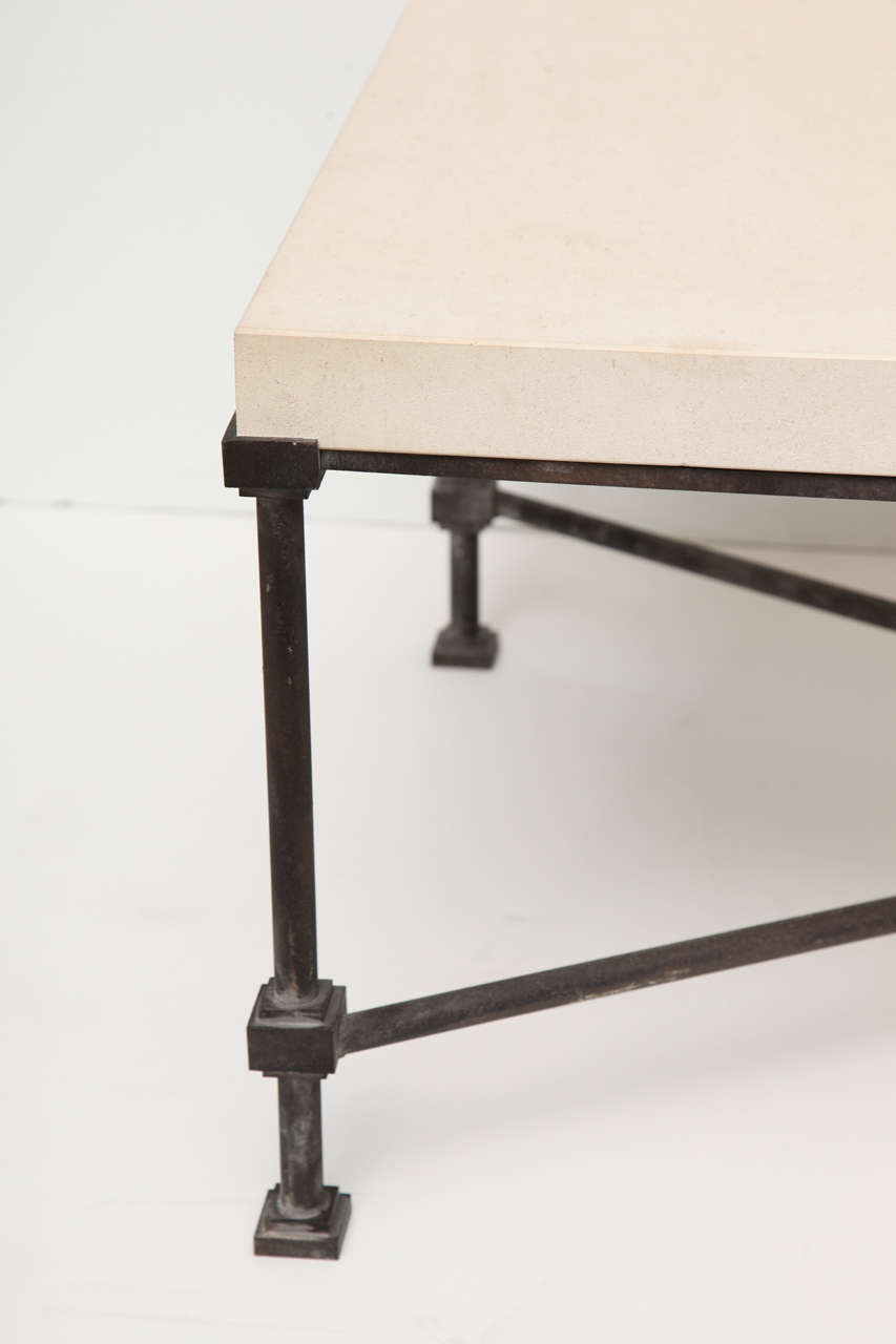 Limestone Top Coffee Table With Metal Base At 1stdibs