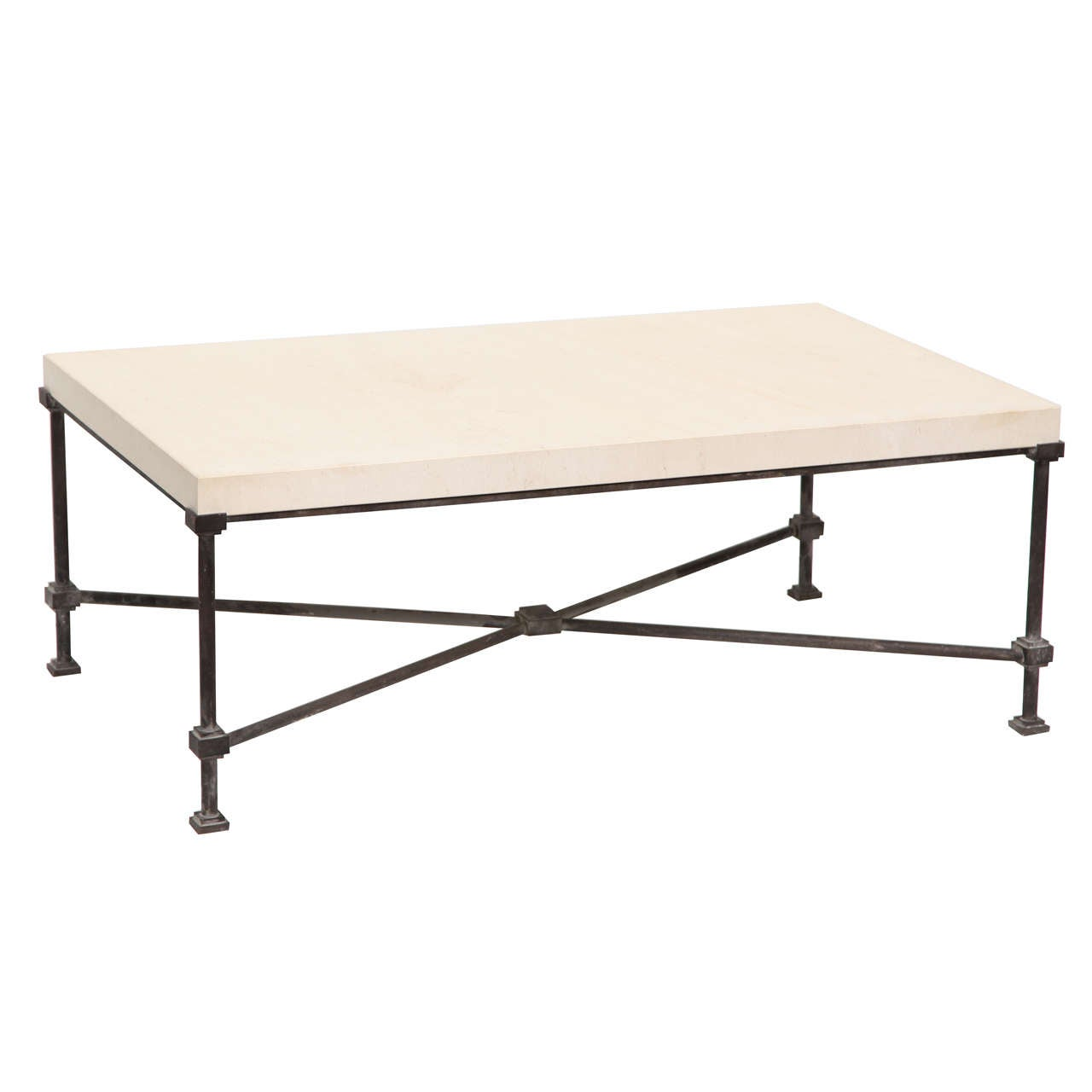 Charming Limestone Top Coffee Table With Metal Base 1