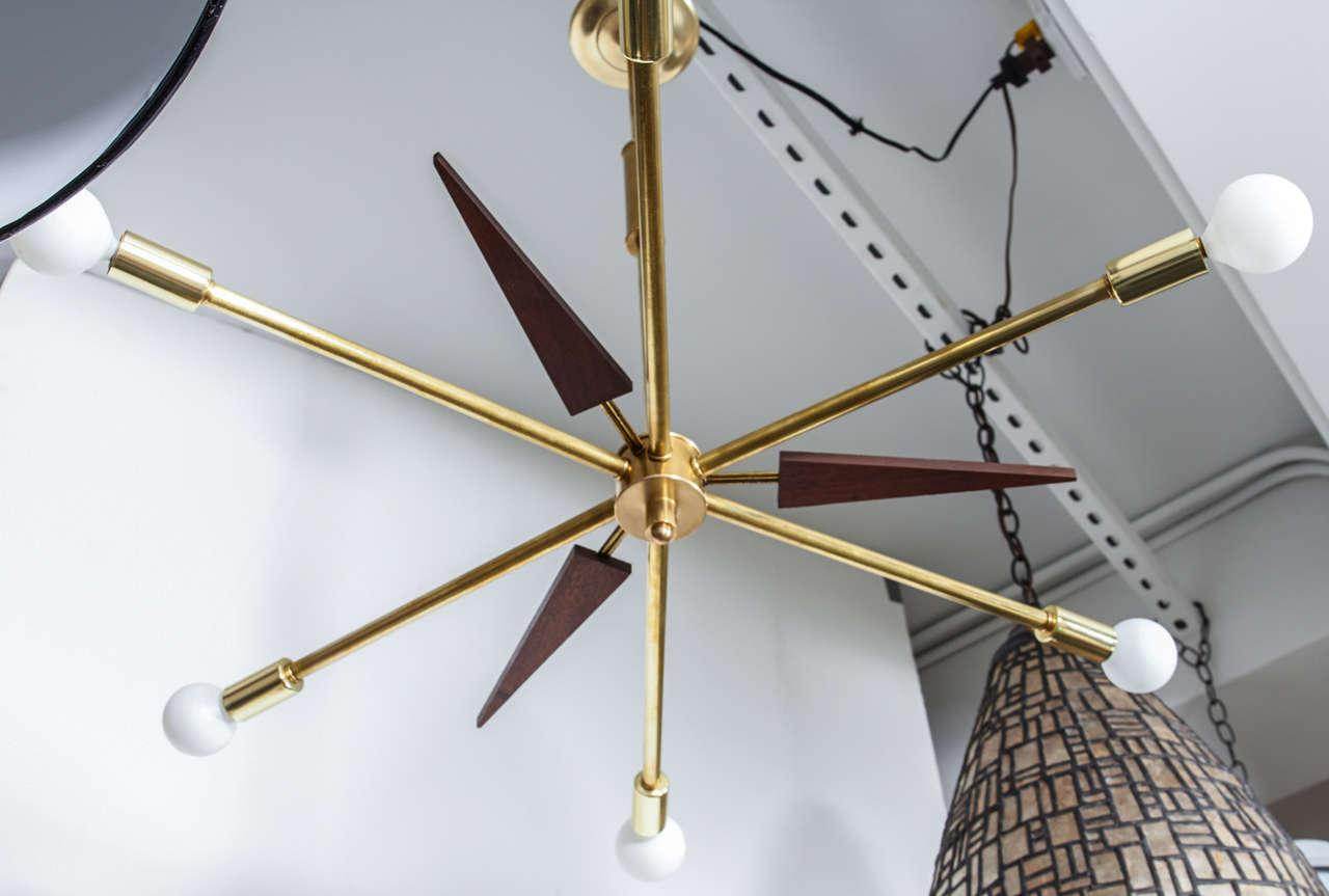 Vintage Wood And Brass Sputnik Light Fixture At 1stdibs