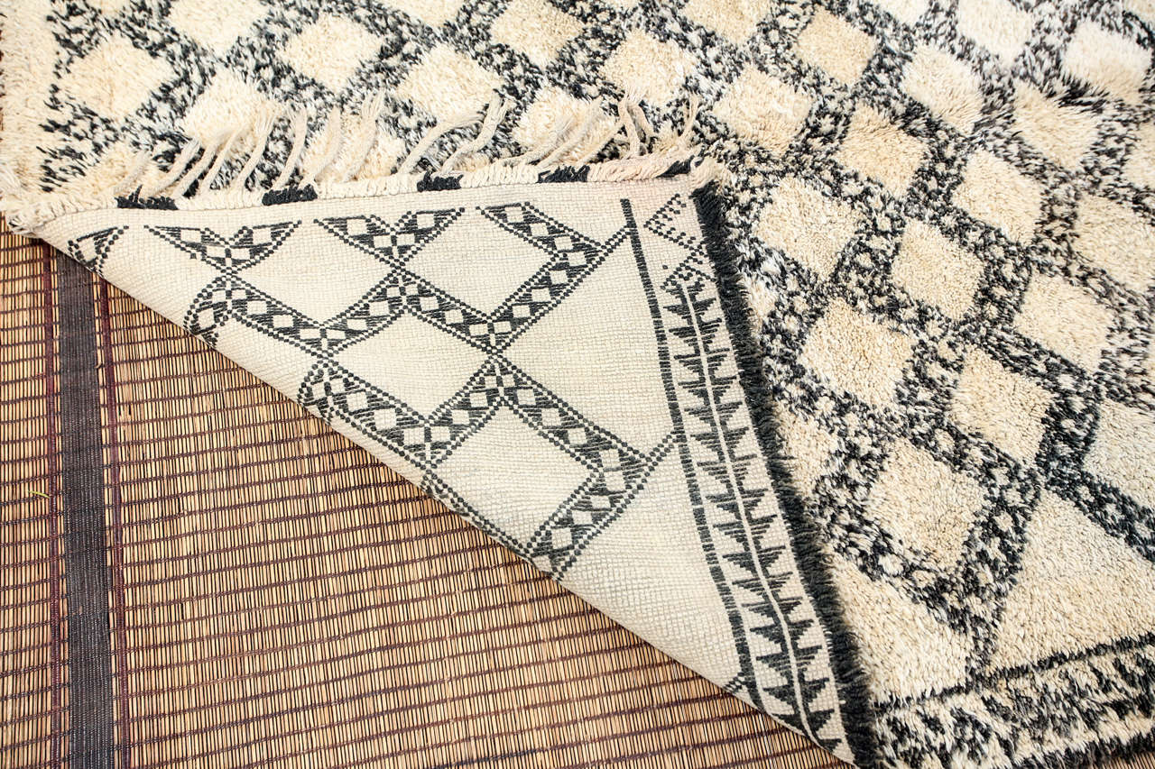 Mid-20th Century Beni Ouarain Shaggy Moroccan Rug North Africa For Sale