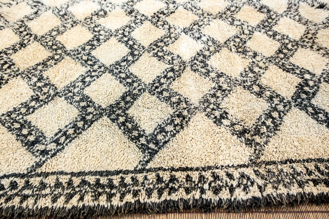 Wool Beni Ouarain Shaggy Moroccan Rug North Africa For Sale