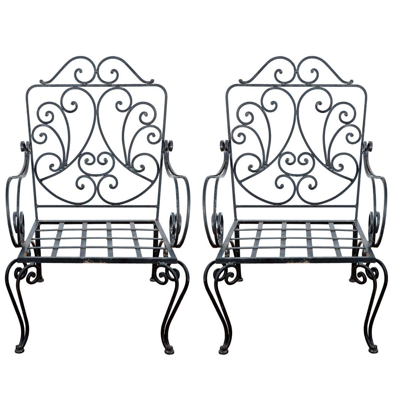 Pair of Iron French Armchairs in the style of J.C. Moreux