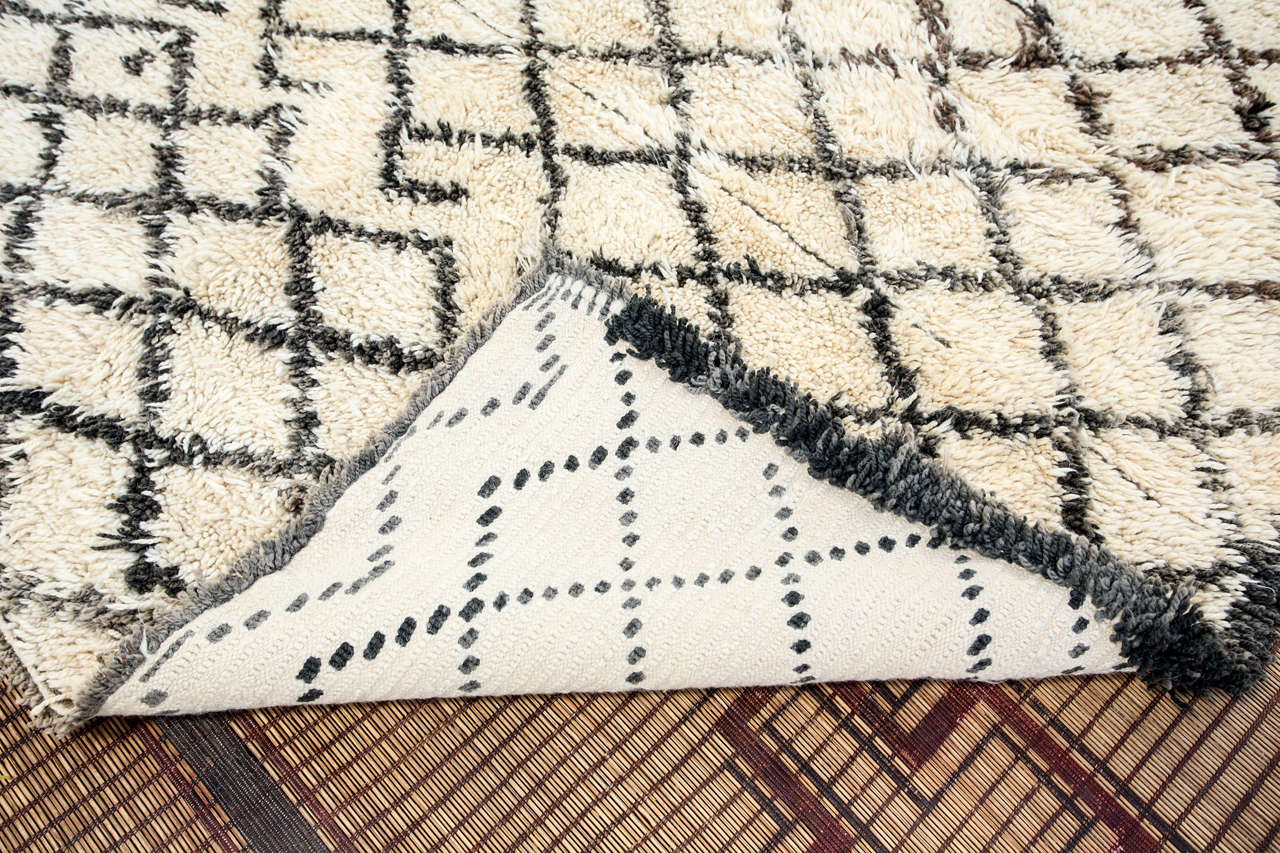Vintage Mid Century Beni Ouarain Moroccan Rug For Sale 1