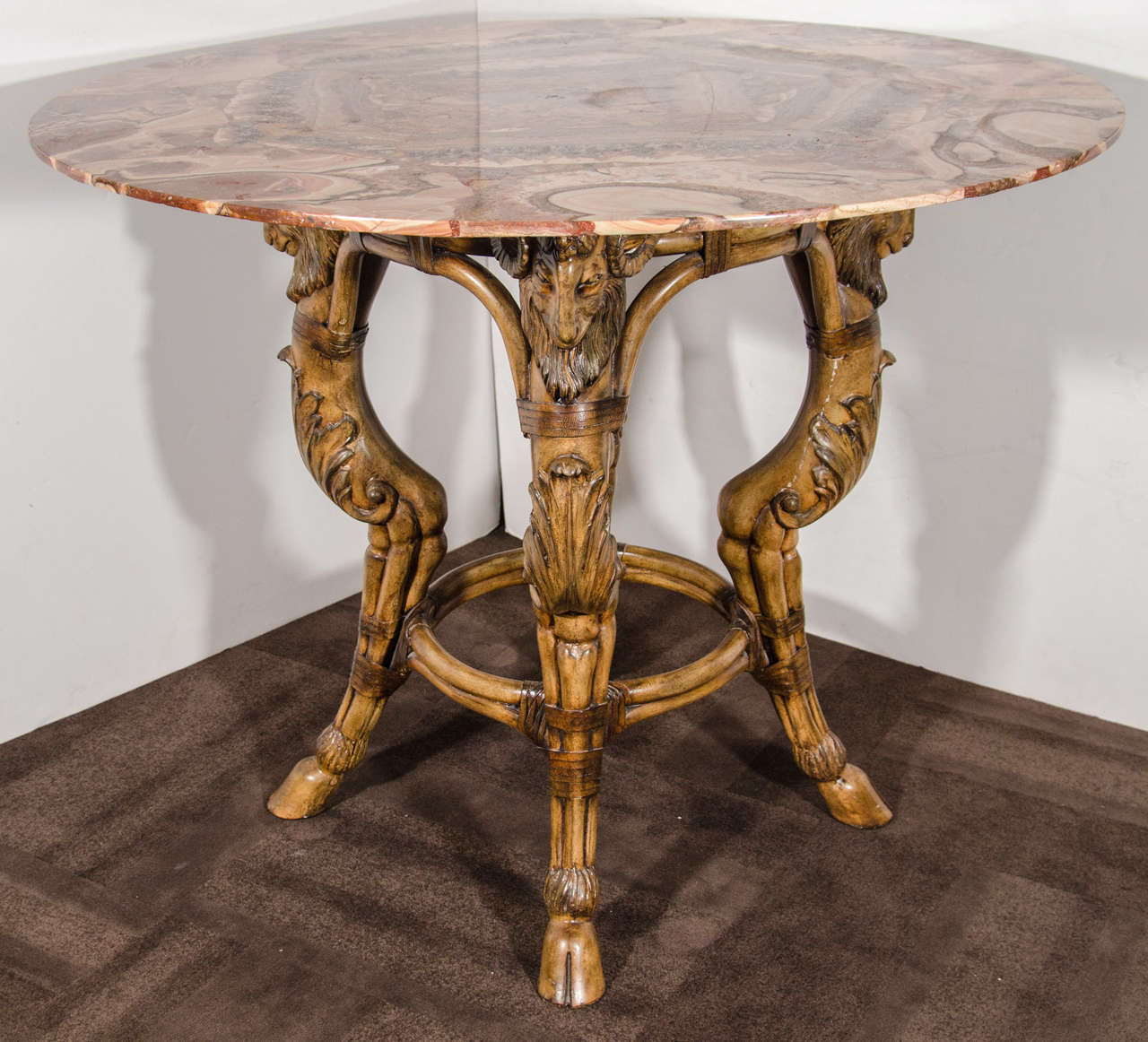 Rare Onyx Center Table With Unique Carved Wood Base At 1stdibs