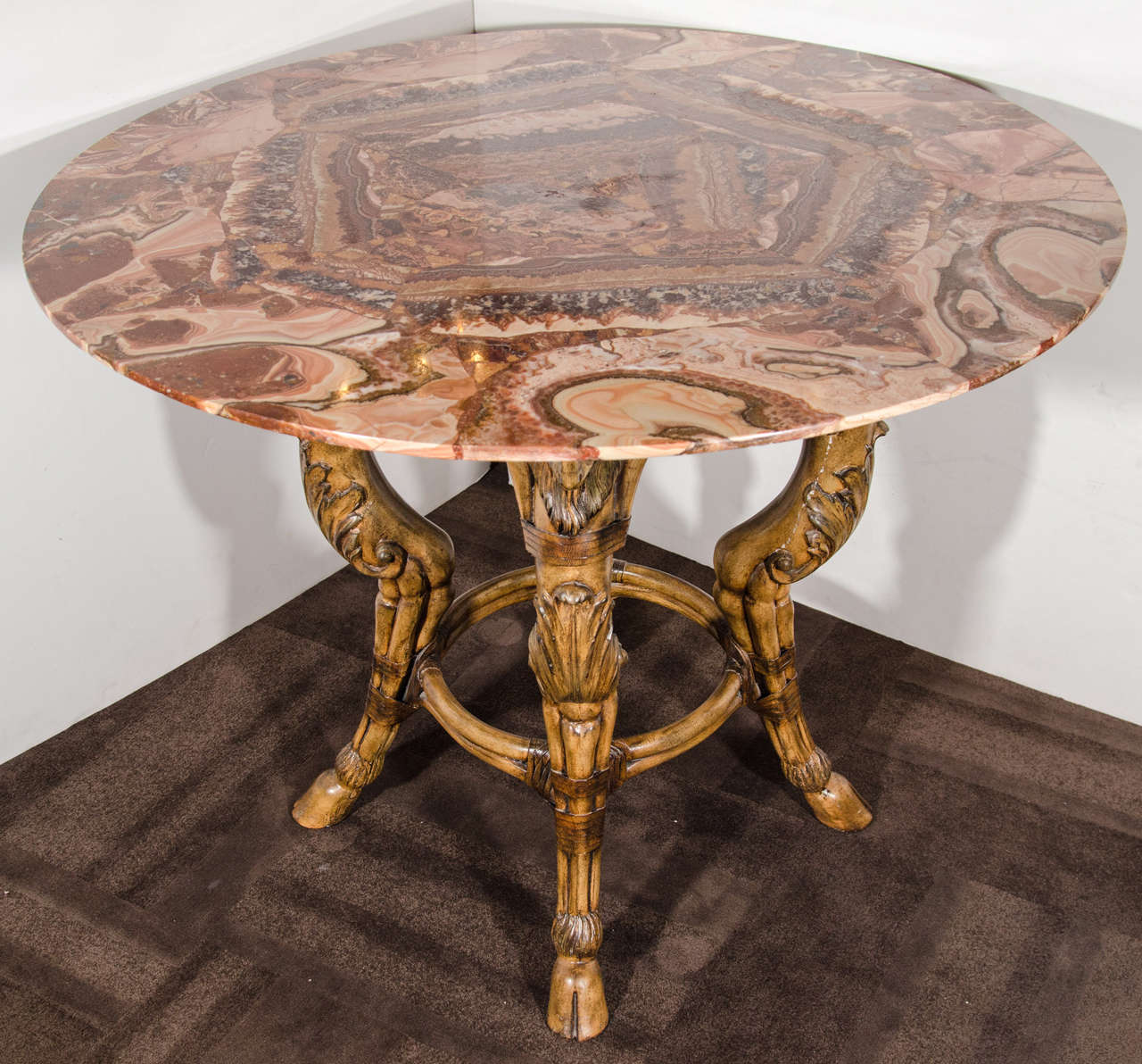 Unique Table Base: Rare Onyx Center Table With Unique Carved Wood Base At 1stdibs