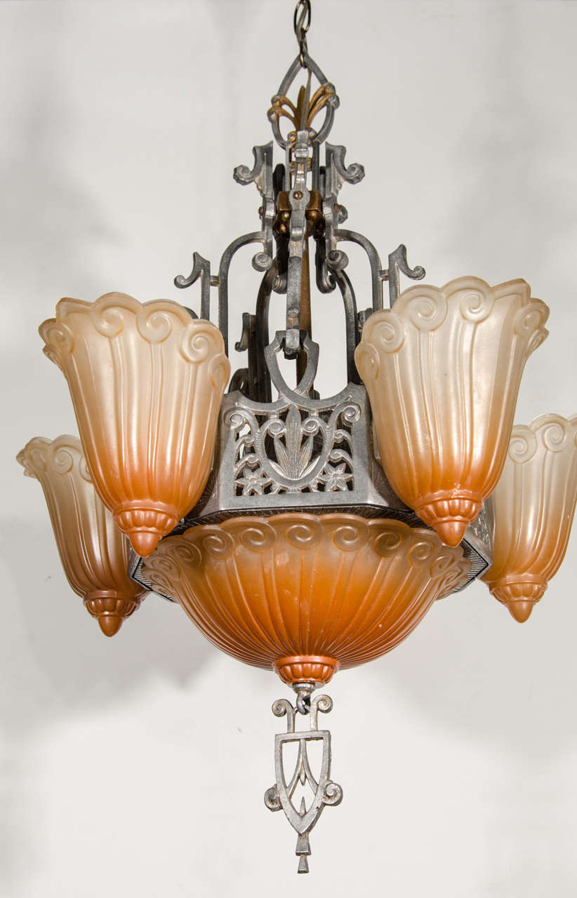Art deco chandelier designed by lincoln lightning company