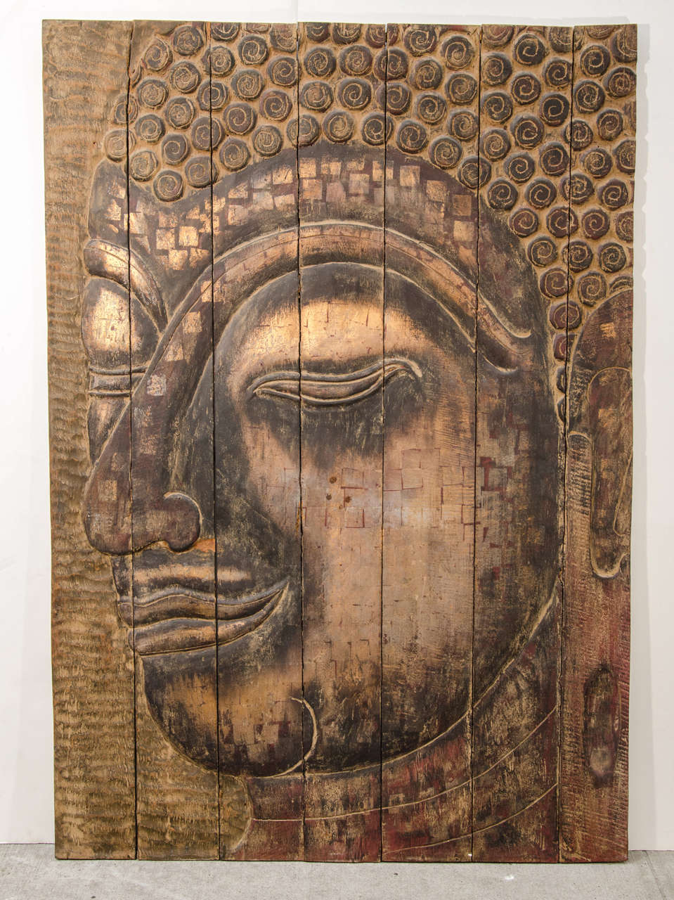 Large Buddha Panel: Large Scale Buddha Panel On Hand Carved Reclaimed Wood At