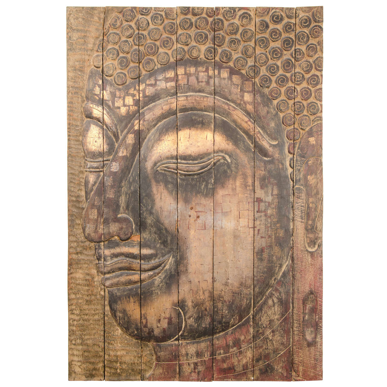 Large scale buddha panel on hand carved reclaimed wood at