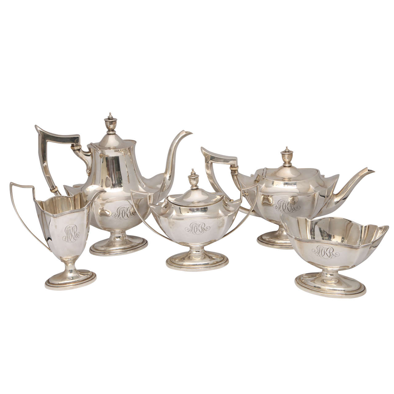 Sterling Silver Five Piece Plymouth Tea Coffee Set For