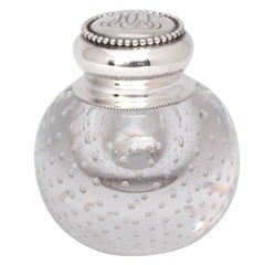 "Sterling Silver-Mounted Pairpoint ""Controlled Bubbles"" Crystal Inkwell"