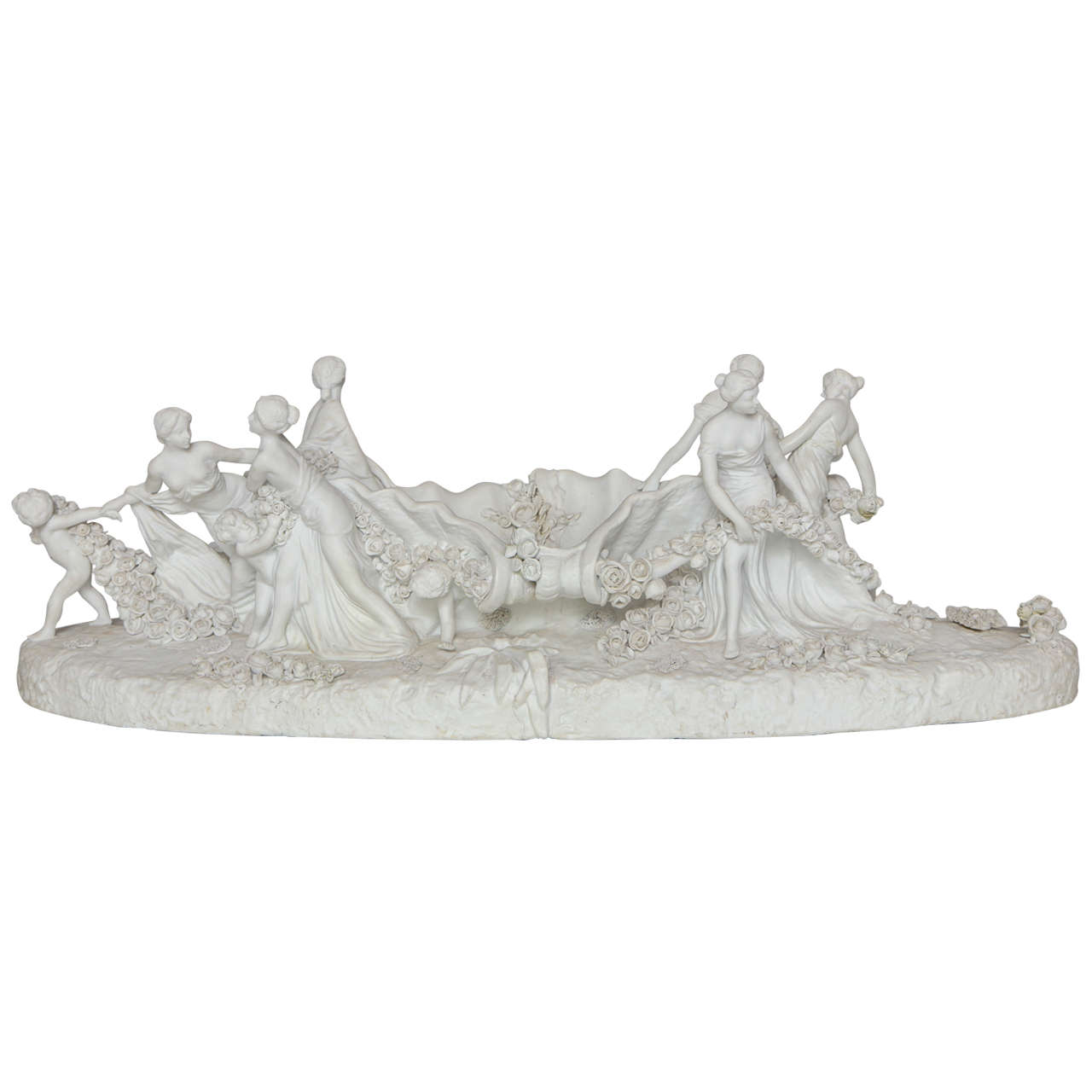 Large White Bisque Sevres Porcelain Figural Centerpiece of Woman and Children